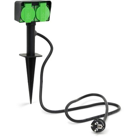 Prise de courant pour jardin avec 2 prises pour extérieur piquet Dimensions 35 x 11 x 6,5 cm longueur du câble 130cm normes IP44 borne extérieure électrique éclairage de jardin, noir-vert