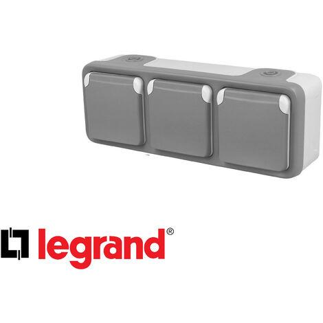 Prise de courant triple horizontal 16A 2P+T Legrand Plexo™ grise complète