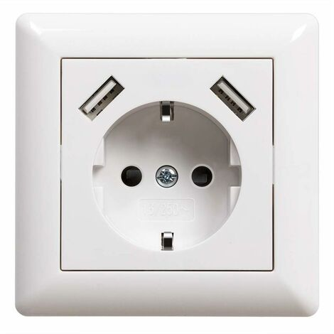 Prise de courant USB encastrable avec prise USB (max. System 55 Prise murale à contact de protection pour smartphone MP3 Blanc brillant 2,8 A