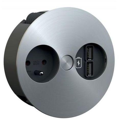 Prise de cuisine - ALTON Bloc 1 prise + 2 USB à encastrer Inox