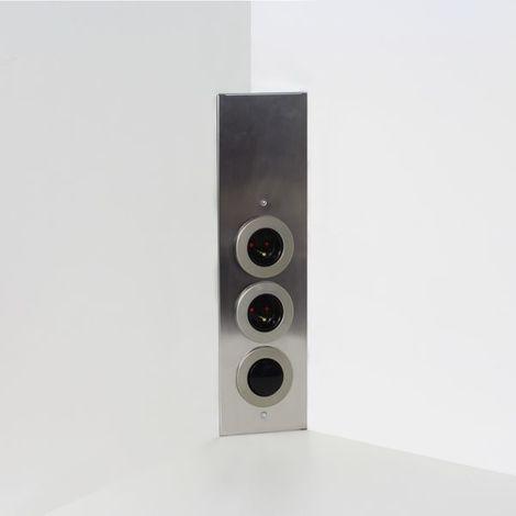 Prise de cuisine - Bloc ESQUINA 2 prises d'angle et interrupteur en Inox brossé