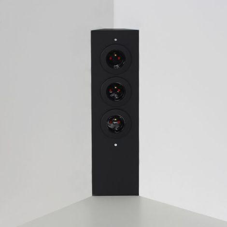 Prise de cuisine - Bloc ESQUINA 3 prises d'angle soft touch noir