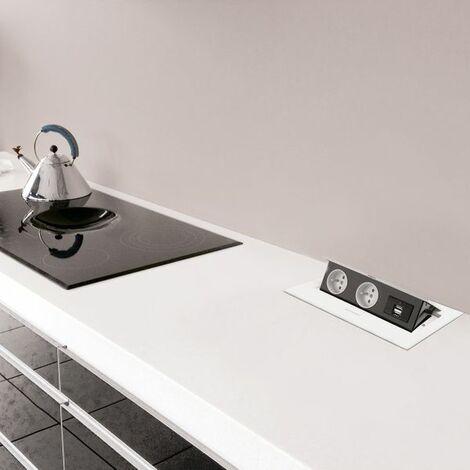 Prise de cuisine - DERBY Bloc rétractable 2 PRISES + 2 USB blanc