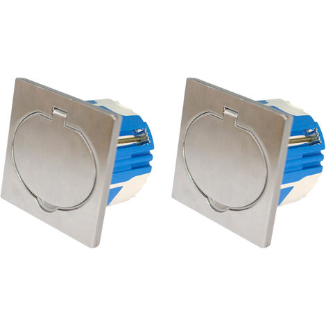 Prise de sol 16A 2P+T finition alu brossé - IP44 avec boîte d'installation - Lots disponibles