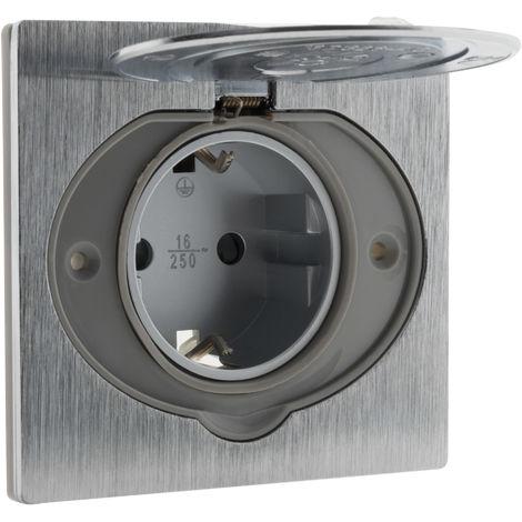 Prise de sol 16A SCHUKO finition alu brossé - IP44 avec boîte d'installation