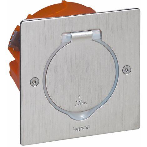 Prise de sol inox étanche IP 44 avec clapet de protection + boite à encastrer