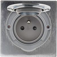 Prise de sol IP55 finition alu brossé - simple ou double prise