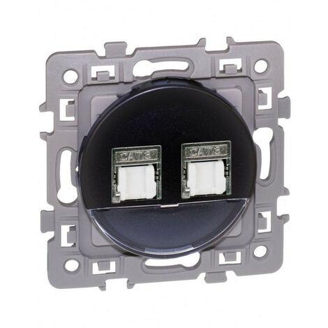 Prise double RJ45 CAT6 grade 3 STP multimédia anthracite Square (60373)