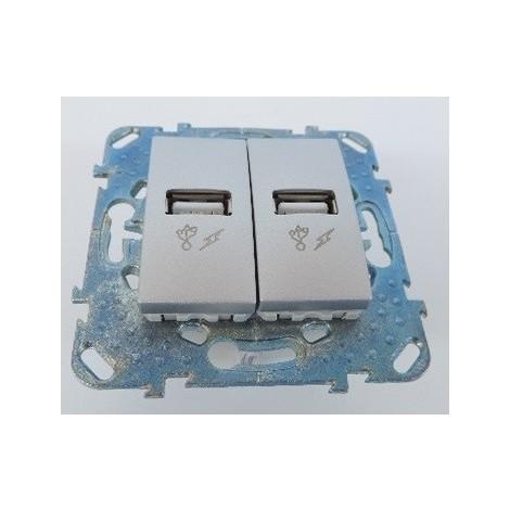 """main image of """"Prise double USB encastré aluminium avec support sans plaque de finition UNICA Schneider"""""""
