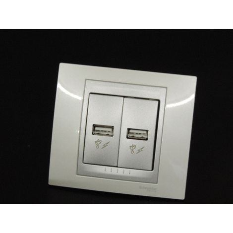 Prise double USB encastré version luxe blanc / aluminium complete avec support et plaque UNICA Schneider