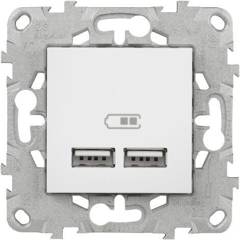 """main image of """"Unica Double chargeur USB 2.0 Blanc - 5Vcc - 1A+2,1A - 2Mod"""""""