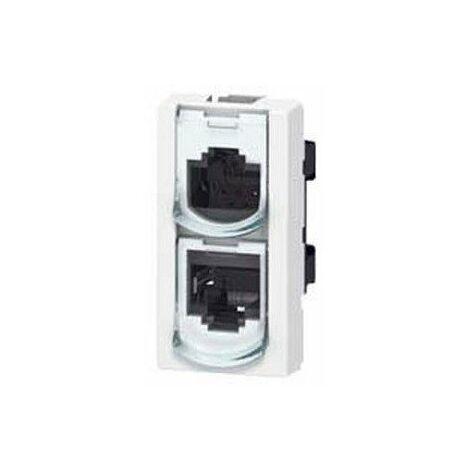 Prise doubleur téléphone/Ethernet 9 contacts - RJ45 - FTP - 1 module - LCS²