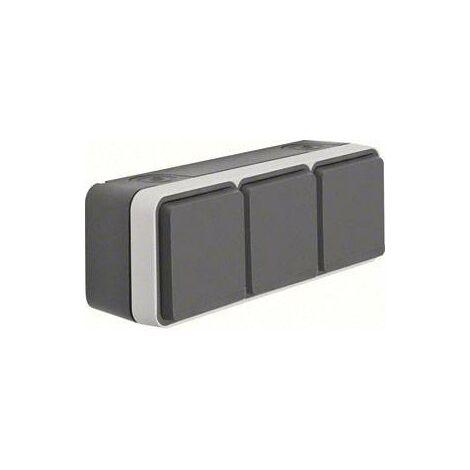 Prise électrique triple Berker 47733515 W.1 apparent gris, gris clair W827531