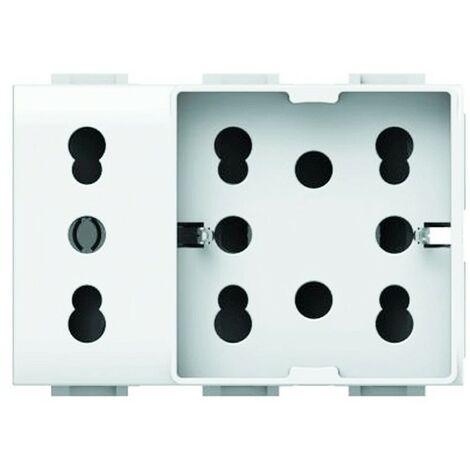 Prise Électrique Universelle 10/16A 3 modules Side 4box Unique pour Vimar Plana 4B.V14.H21.XL