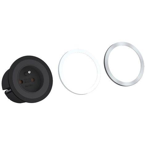 Prise encastrable pix avec bague décorative - : - Profondeur : 45 mm - Diamètre : 68 mm - Décor : Noir - Matériau : Plastique - Longueur câble secteur : 2000 mm - BACHMANN - Matériau : Plastique