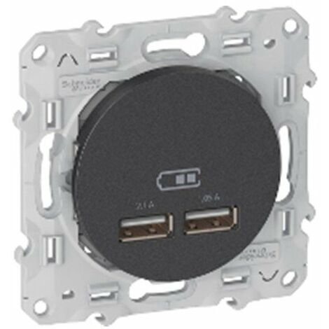 Prise encastrée - Odace - Chargeur double USB 2.1 - Anthracite