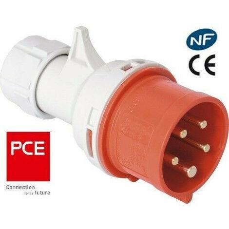 Prise Fiche socle mâle ou femelle CEE 5x16A - triphasé 5 Pôles IP 44 marque PCE   Fiche ou Prise ou Socle: Fiche mâle 5x16A