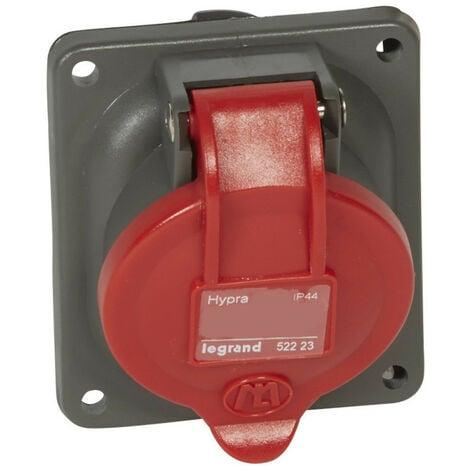 Prise fixe Hypra IP44 16A 380V~ à 415V~ 2P+T plastique (052222)