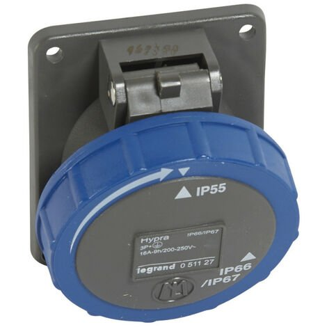 Prise fixe Hypra IP66-67 55 16A 200V~ à 250V~ 3P+T plastique (051127)