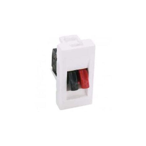 "main image of ""Prise haut-parleur 1 module avec bornier 4mm² - Mosaic - Blanc - 078750 - Legrand"""