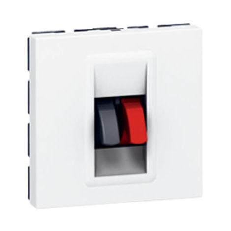 Prise haut-parleur Mosaic 2 modules avec bornier 4mm² pour liaison audio stéréo de haut-parleur - blanc - Legrand