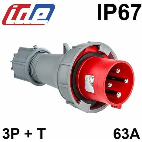 Prise mâle triphasé 3P+T 63A IP67 de type P17