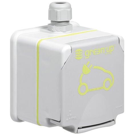 Prise mode 2 vehicule electrique 3kw schuko ip55 complet saillie gris (090472)