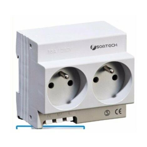 Prise modulaire double - 2x16A - 250Vac - 3500W