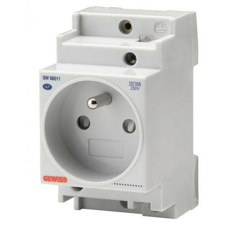 Prise modulaire pour rail NF 2P+T 2,5 modules 16 A 250 V