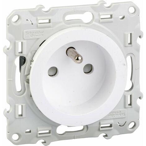 Prise Odace 2P+T à vis - 4 connexions rapides par pôle - Blanc - Schneider Electric