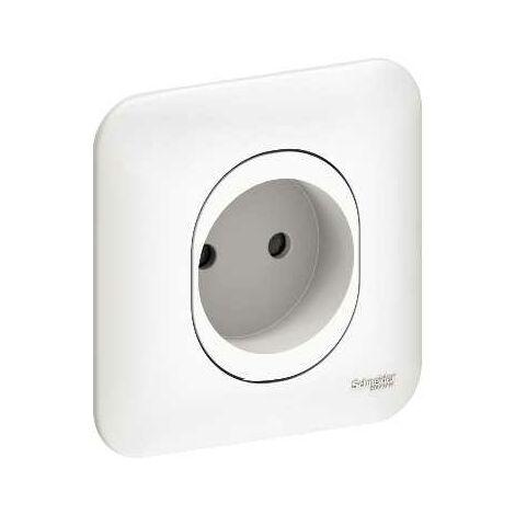 Prise de courant 2P 16A Schneider Ovalis blanc S265033