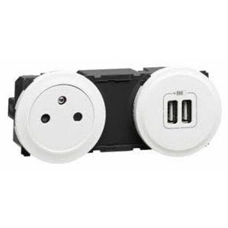 Prise précablée Surface 2 P+T 16A + chargeur USB - complet Blanc