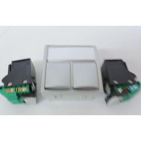 Prise reseau double 2x RJ45 CAT5E UTP alu format 45x45mm ALTIRA SCHNEIDER ELECTRIC ALB46325N