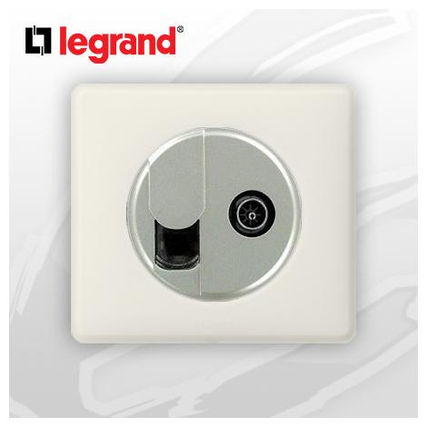 Prise RJ45 Cat 6 + TV complete Legrand Celiane Craie Poudré