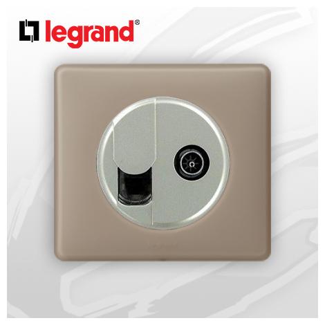 Prise RJ45 Cat 6 + TV complete Legrand Celiane Grès Poudré