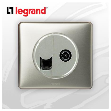 Prise RJ45 Cat 6 + TV complete Legrand Celiane Titane Métal