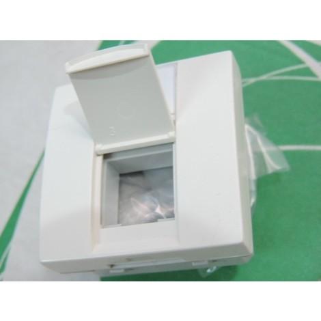 Prise RJ45 cat5E FTP blanche 45X45mm avec porte-étiquette pose encastré ou sur goulotte Altira SCHNEIDER ELECTRIC ALB45315