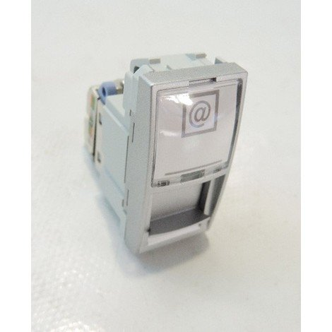 Prise RJ45 Cat6 S/FTP grade 3 aluminium pour telecomminication VDI 1 module UNICA