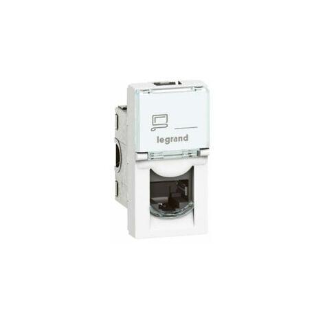 """main image of """"Prise RJ45 catégorie 6A STP à blindage métal - 1 module - Mosaic - Blanc - 076573 - Legrand"""""""