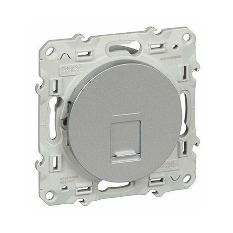 Prise RJ45 Odace - Sans connecteur - Aluminium