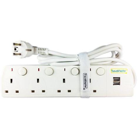 Prise Shuko moulée de type F à 2 fiches et reliée à terre, 2 x 1A Ports USB 5V, cable flexible 1,5m