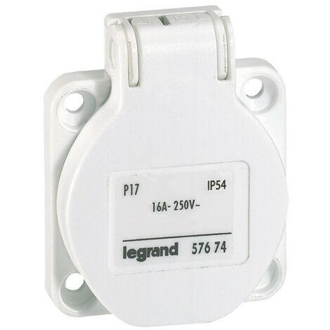 Prise à encombrement réduit P17 à brochage domestique IP54 16A 250V~ blanc (057674)