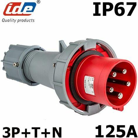 Prise tétrapolaire 125A 3P+N+T IP67 Fiche mâle 3P+N+T 200V à 415V