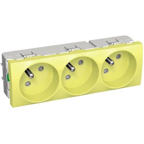 Prise triple 3x 2P+T 16A jaune 45x135mm clipsable 250V 45° Altira SCHNEIDER ELECTRIC ALB4523210