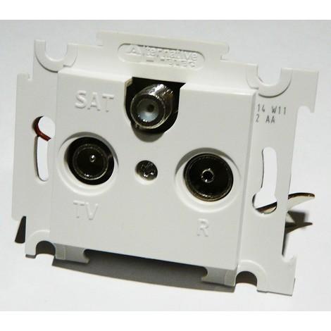 Prise TV-FM-SAT blanche encastrée 1 entrée fixation vis sans plaque ALTERNATIVE ELEC AE52021