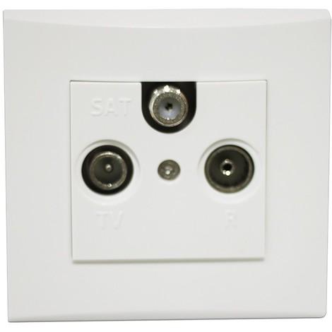 Prise TV-FM-SAT blanche encastrée 1 entrée fixation vis complète avec plaque de finition ALTERNATIVE ELEC AE52021-P