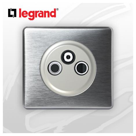 Prise TV-R-Sat simple complete Legrand Celiane Alu Métal (1 Cable)
