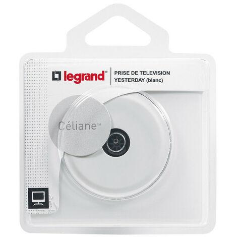 "main image of ""Prise TV simple avec plaque Céliane Blanc (099563)"""