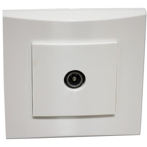 Prise TV simple blanche 1 sortie mâle 9.52mm encastrée fixation vis complète avec plaque de finition ALTERNATIVE ELEC AE52012-P