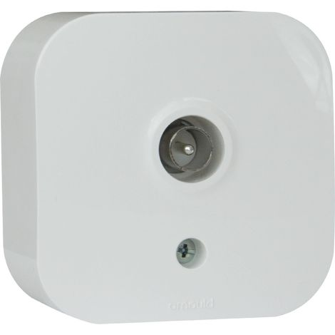 Prise TV simple saillie Profil Eco - Blanc